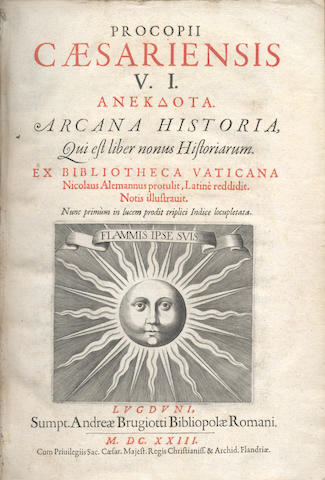 PROCOPIUS of Caesarea. Arcana Historia, 1623; and 2 others (3)