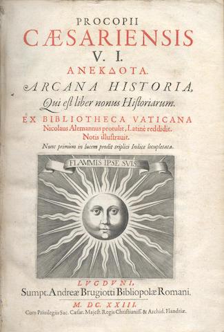 PROCOPIUS of Caesarea. Arcana Historia, 1623; and 2 others (3)