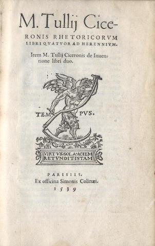 CICERO (MARCUS TULLIUS) Rhetoricorum, 1539; and 2 others (3)