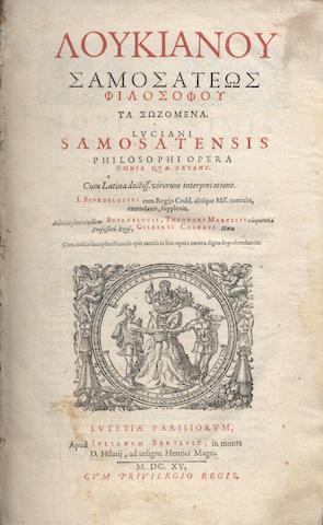LUCIAN, of Samosata Opera omnia, 1615