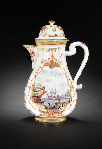 75,000-80,000 on ITEMS 86-90 ON VALUATION A Meissen coffee pot with harbour scenes circa 1722-1725