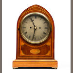 A late Victorian inlaid mahogany lancet top bracket clock Alan Raper