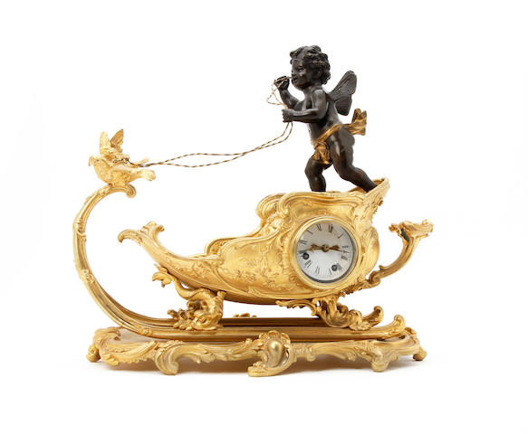A mid 19th Century French Empire ormolu and bronze novelty mantel clock, Cupid as a charioteer Anonymous