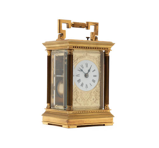 An early 20th century French gilt repeater carriage clock Charles Frodsham, London