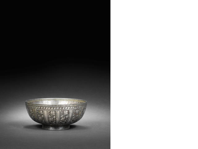 A bidri ware bowl with Arabic inscriptions