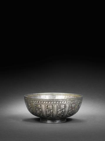 A bidri ware bowl with Arabic inscriptions