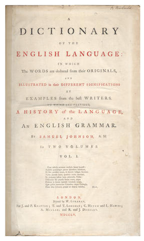 JOHNSON (SAMUEL) A Dictionary of the English Language, 2 vol., FIRST EDITION, 1755