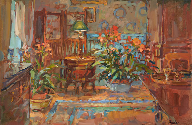 Susan Ryder (British, born 1944) Dining room with Clivia