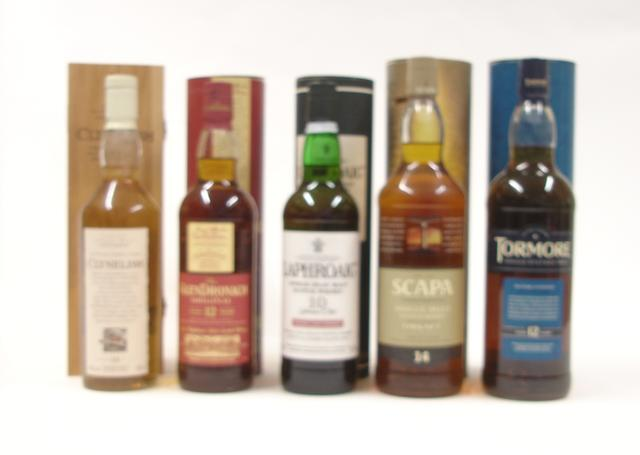 Clynelish-14 year old  The Glendronach-12 year old  Laphroaig-10 year old  Scapa-14 year old  Tormore-12 year old