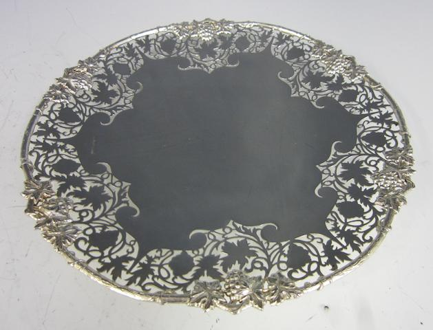A silver cirular pierced dish by Cooper Brothers and Sons, Sheffield 1971