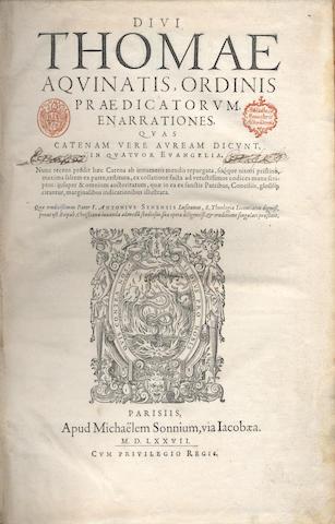 THOMAS AQUINAS, Saint Ennarationes, quas catenam vere auream dicunt, in quatuor Evangelia, pigskin binding, 1577