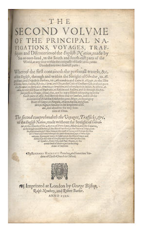 HAKLUYT (RICHARD) The Principal Navigations, Voiages and Discoveries of the English Nation], 3 vol. in 2, 1599-1600