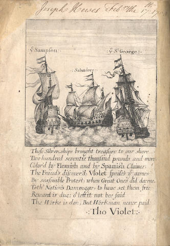 VIOLET (THOMAS) A True Narrative of the Proceedings in the Court of Admiraltie, against the Ships Sampson, Salvador, and George, their Silver and Lading, 1659