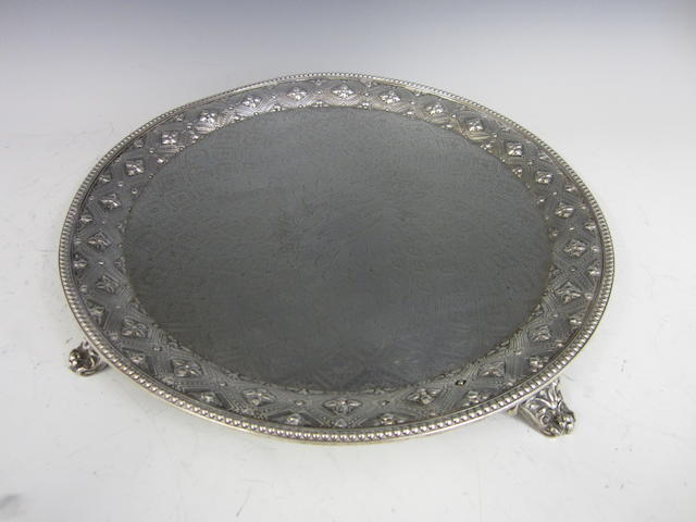 A Victorian silver presentation circular salver by Robert Hennell, London 1863