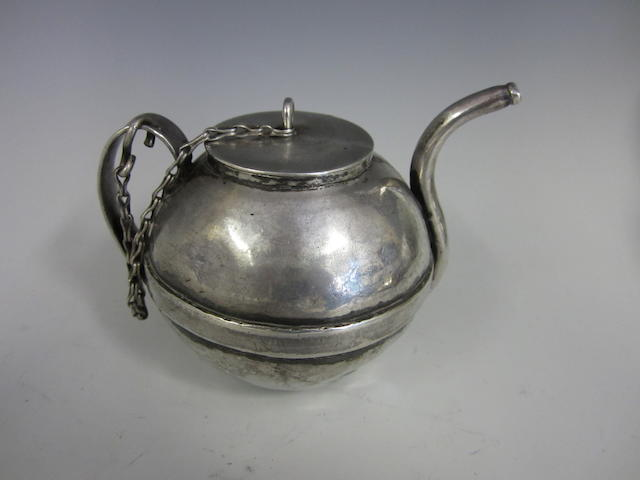 A silver toy tea pot unmarked, probably Dutch, circa late 18th century