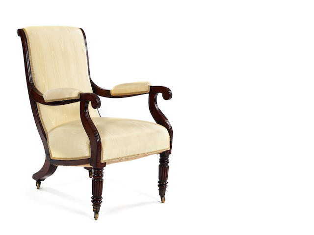A Regency mahogany-framed gentleman's or library chair