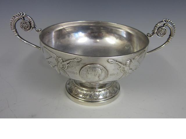 Of Napoleon Interest; A French silver two-handled bowl mid 19th century, Minerva's head 950 standard