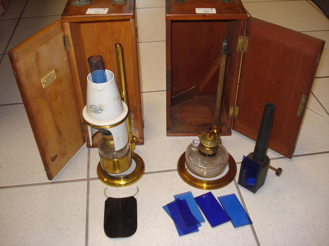 Two microscope bench lamps: