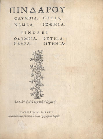 PINDAR Olympia, Pythia, Nemea, Isthmia, 1558; and another, Greek printing (2)