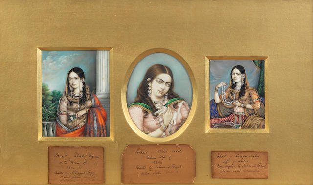 Three portraits of consorts of the Mughal Emperor Akbar II (reg. 1806-37): Shankar Begum, of the harem; Akhtar Mahal, his Persian wife; Asafar Mahal Delhi, by the artists Mahmud Faizul and his pupil, Asmuddin, circa 1900, after originals of 1840-50