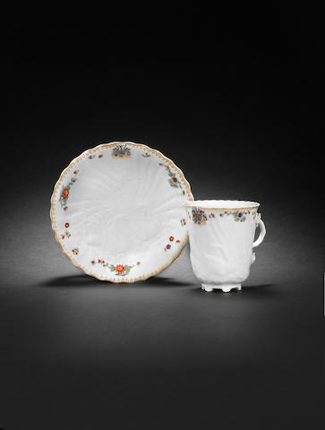 A Meissen chocolate cup and saucer from the Swan service circa 1739-40