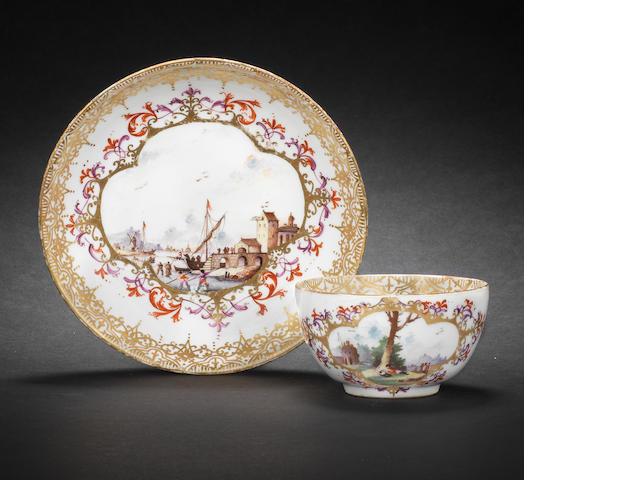 A Meissen teabowl and saucer circa 1730