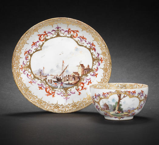 A Meissen teabowl and saucer circa 1730