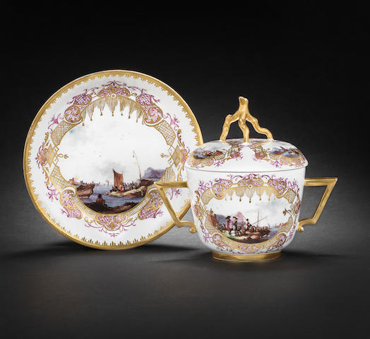 A Meissen two-handled écuelle, cover and stand, circa 1735-40