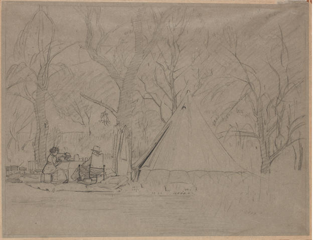 Jacob Hendrik Pierneef (South African, 1886-1957) The Camp of Anton van Wouw, pencil