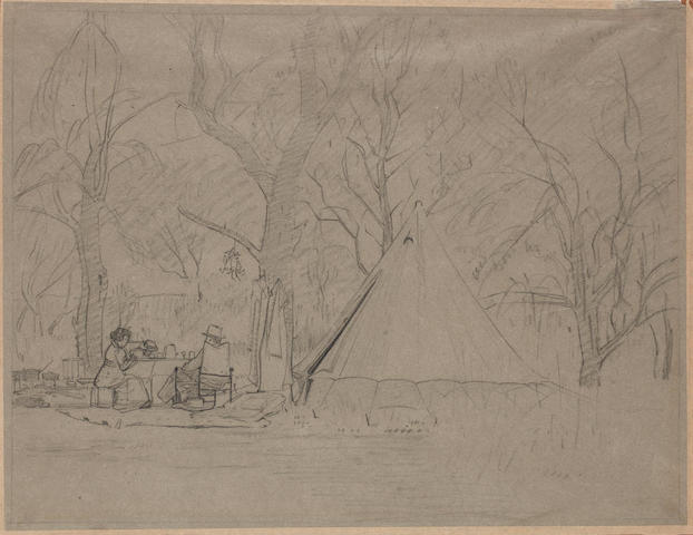 Jacob Hendrik Pierneef (South African, 1886-1957) Camp with Anton van Wouw, Roodeplaats