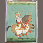 Maharana Sarup Singh on horseback Udaipur, attributed to the court artist Tara, circa 1850-60