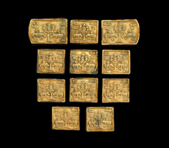 A group of Ilkhanid belt fittings 13th-14th century gilt bronze (11)