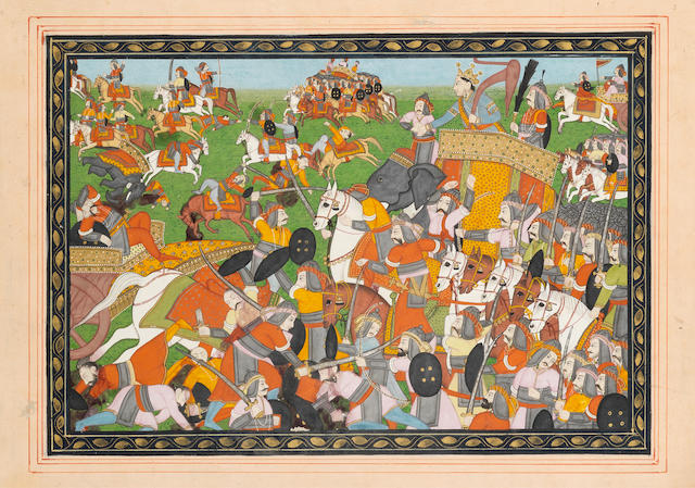 A battle scene with elephants, cavalry and infantry Pahari, circa 1840