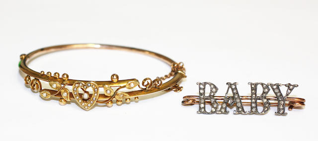 A bangle and a baby brooch