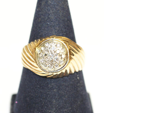 A 9ct gold and pave-set single-cut diamond ring