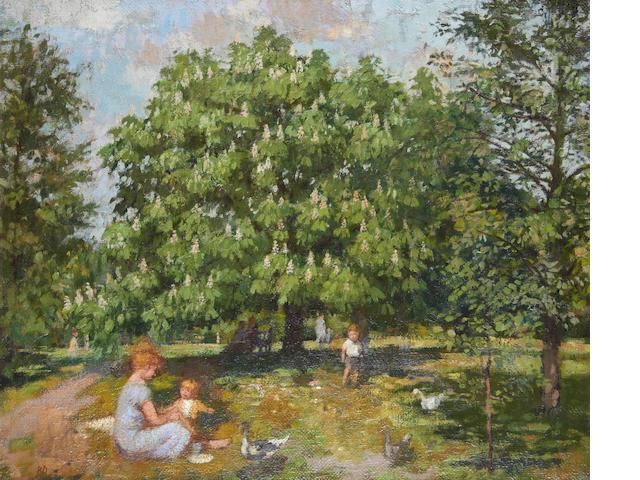 Bernard Dunstan, R.A. (British, born 1920) Picnic at Kew Gardens