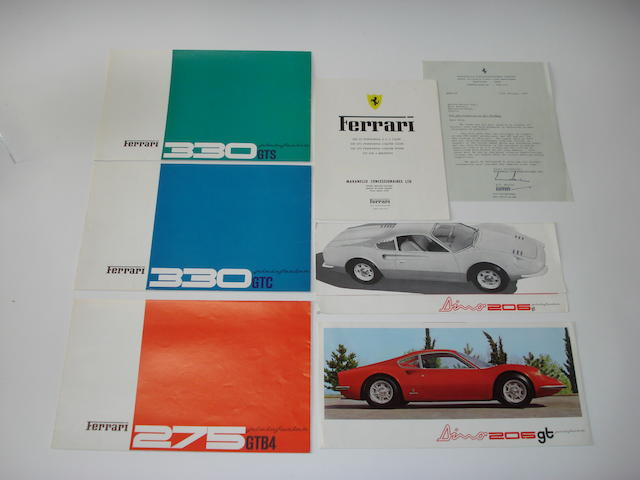 Assorted Ferrari brochures,