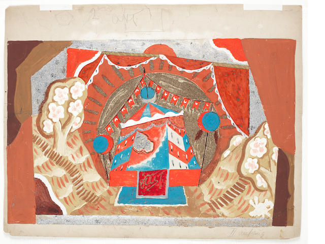 Pavel Tchelitchew (Russian, 1898-1957) Royal tent, for Rimsky-Korsakov's Coq d'Or, Berlin, 1923 sheet: 48.5 x 62cm (19 1/8 x 24 7/16in).; sight: 39 x 60cm (15 3/8 x 23 5/8in).