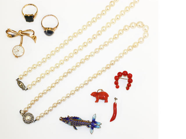 Collection of jewellery to include 2 x rings, articulated fish, Rolex bow watch, 2 x cultured pearl necklaces and 3 x small coral mounted items