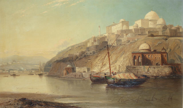 James Webb (British, 1825-1895) Boats on the Bosphorous,
