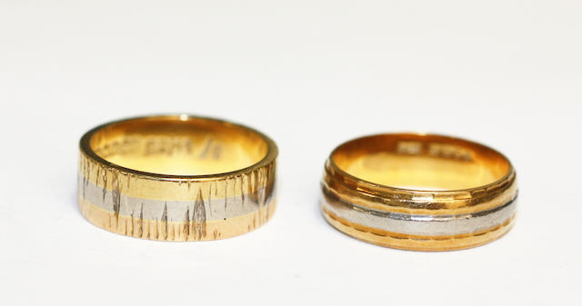 Two 18ct gold wedding bands