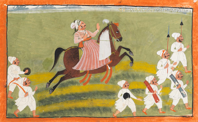 A Maharana out riding with several attendants Mewar, circa 1830