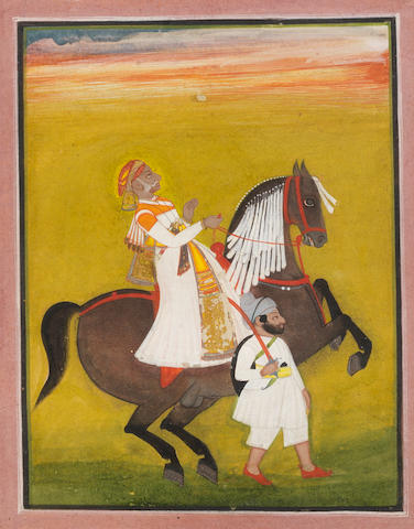 A Maharajah on horseback with an attendant Mewar, circa 1830