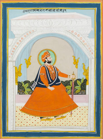 A Maharajah standing within a pavilion alcove Jaipur, mid-19th C
