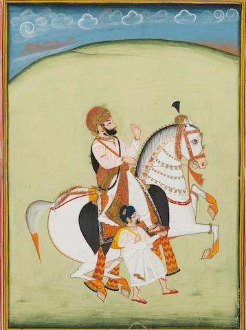A Maharajah on horseback with an attendant Mewar, circa 1830
