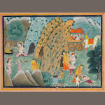 An illustration to the Ramayana: a prince visiting a hermitage with his young son to worship Rama and Lakshmana Pahari, circa 1830