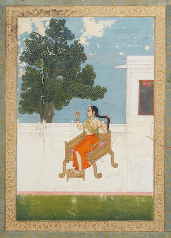A courtesan at her toilette seated on a terrace Murshidabad, late 18th Century