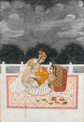 A prince and his mistress in an erotic embrace on a terrace MANIJEH Murshidabad, late 18th Century