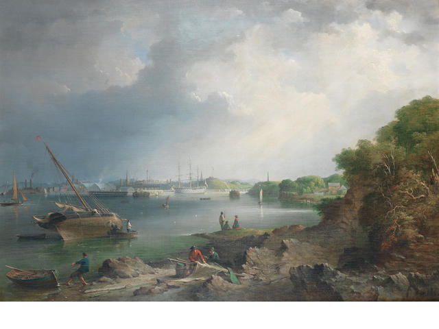 Richard Brydges Beechey (British, 1808-1895) Devonport, with man o war and other shipping