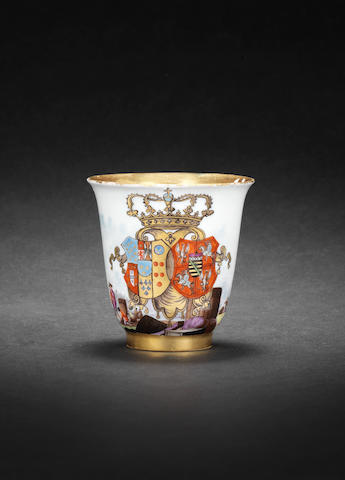 A Meissen armorial beaker with the arms of Naples-Sicily and Saxony-Poland-Lithuania circa 1737